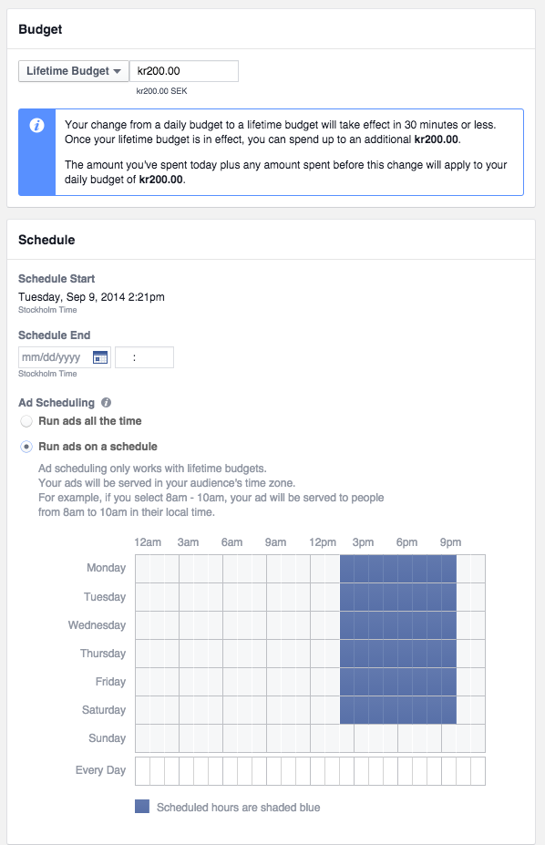 Facebookannonsering - dayparting